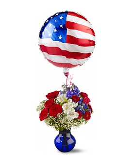 Red, White, and Balloon Bouquet Flower Arrangement