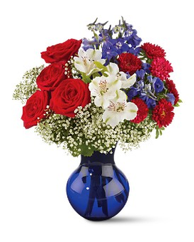 Red White and True Bouquet Flower Arrangement