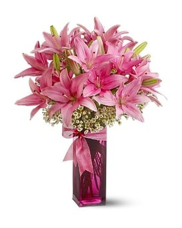 Teleflora's Pretty Pink Lilies Flower Arrangement