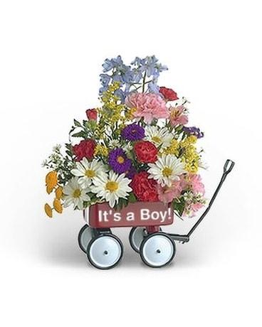 Baby's First Wagon (Boy) Flower Arrangement