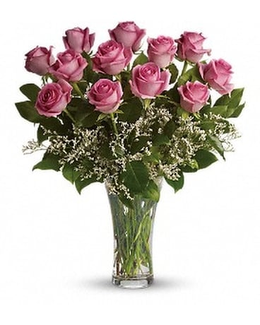 Make Me Blush - Dozen Long Stemmed Pink Roses Flower Arrangement
