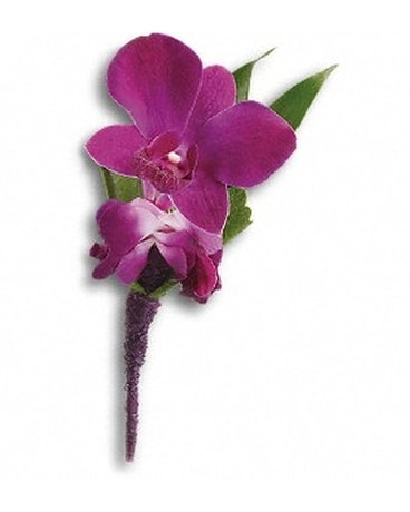 Perfect Purple Orchid Boutonniere Flower Arrangement