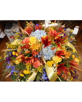 Mixed Casket Spray Flower Arrangement