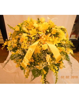 All Yellow Mix Casket Spray Flower Arrangement
