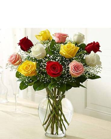 12 Rose Eleganc Premium Long Stem Assorted Roses Flower Arrangement