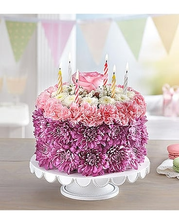 Birthday Wishes Flower Cake Arrangement