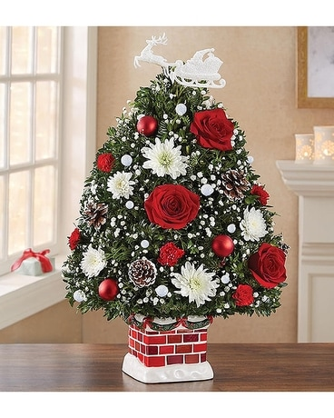 Holiday Flower Tree Flower Arrangement