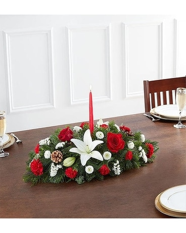 Traditional Christmas Centerpiece Flower Arrangement