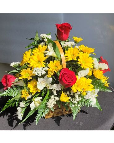 1956 Classic Mixed Basket With Roses Flower Arrangement