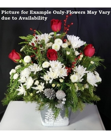 Silver Bells with Red Roses Flower Arrangement