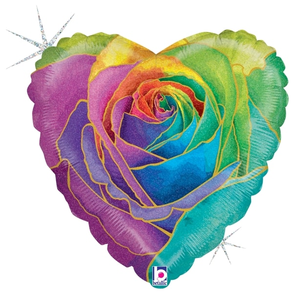 Rainbow Rose Glitter Balloon