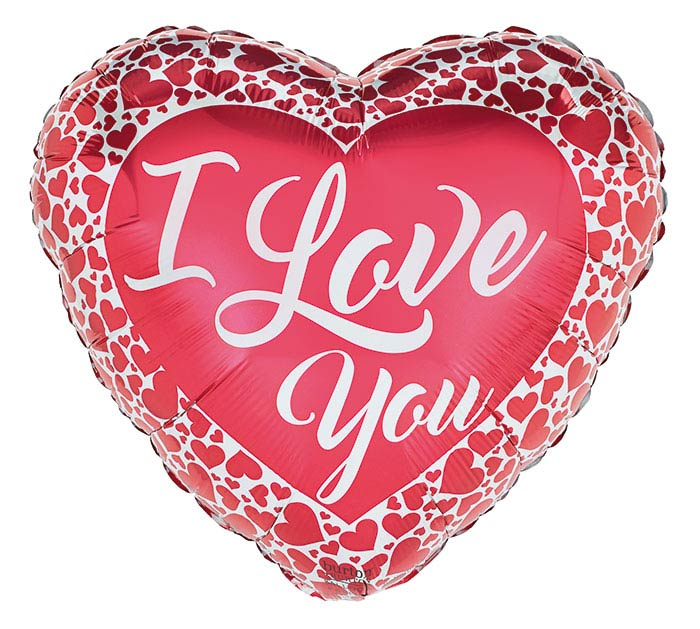 I Love You Mylar - Red w/ Border Hearts, 21MYL-002