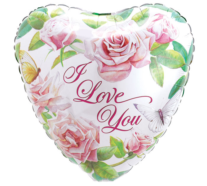 I Love You Mylar - Sweetheart Roses, 21MYL-001