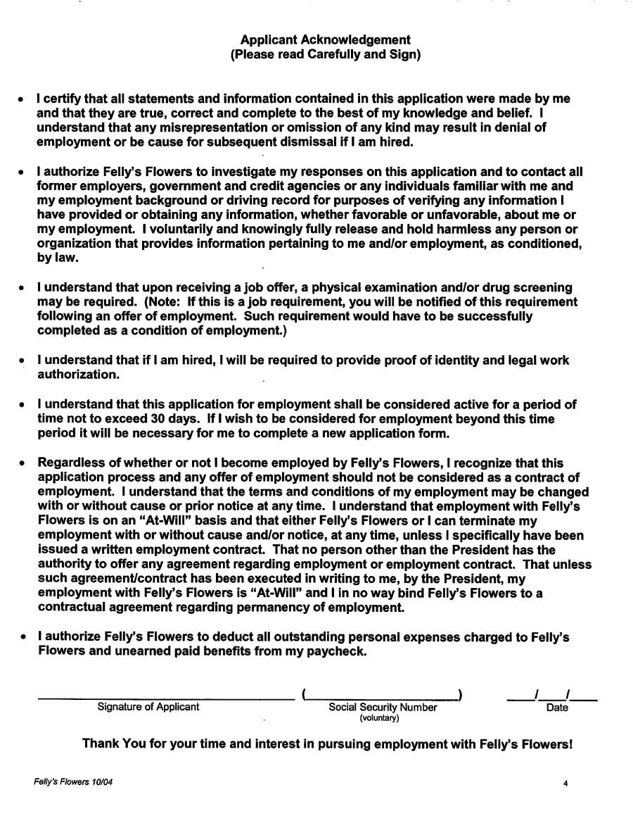 employee application