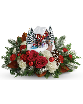 Thomas Kinkade Snow Fall Dreams Flower Arrangement