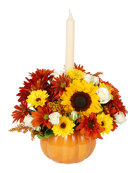 Pumpkin Bright Flower Arrangement