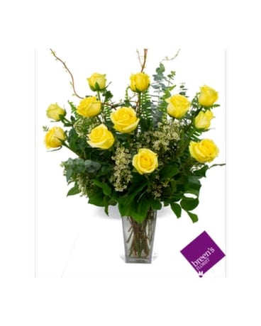 1 Dozen Yellow Roses Flower Arrangement