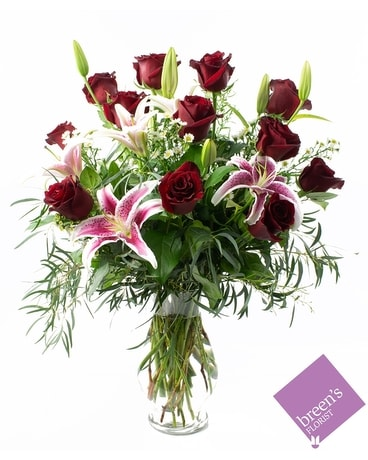 1 Dozen Red Roses With Lilies Flower Arrangement