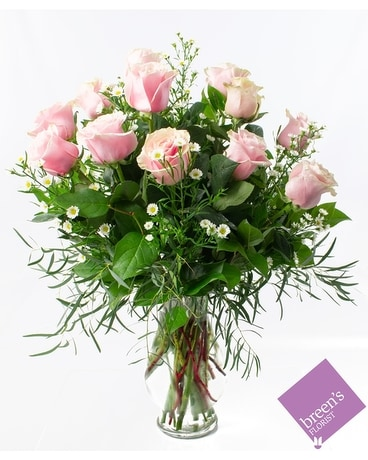 1 Dozen Pink Roses Flower Arrangement