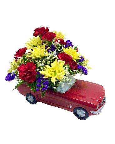Red 1965 Ford Mustang Car Bouquet