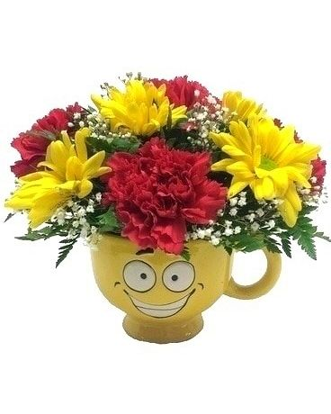 Bright Yellow Smile Mug Bouquet