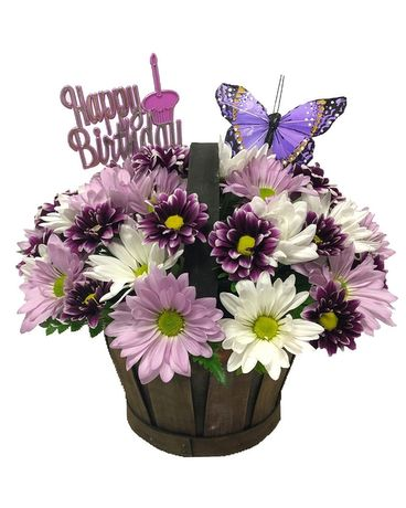 Happy Birthday Purple Butterfly Basket