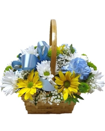 Summer Skies Basket Flower Arrangement