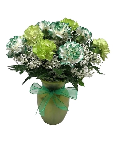Dozen Green Carnations Flower Arrangement