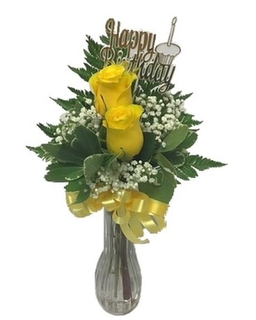 Happy Birthday Yellow Rose Bud Vase Flower Arrangement