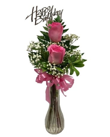 Happy Birthday Pink Roses Bud Vase Flower Arrangement