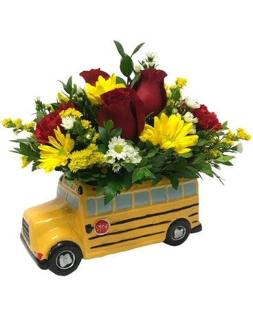 School Bus Bouquet Flower Arrangement