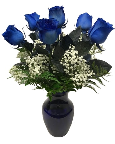 Half Dozen Sapphire Blue Roses In Waverly Ny Jayne S Flowers And Gifts