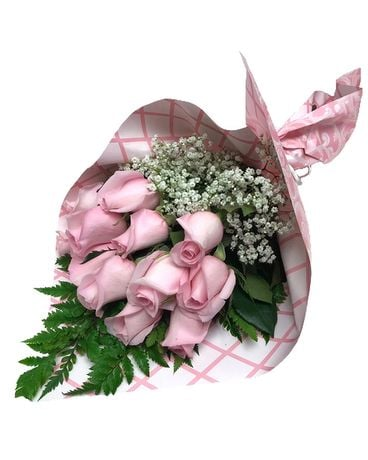 Pink Roses Wrapped Bouquet Flower Arrangement