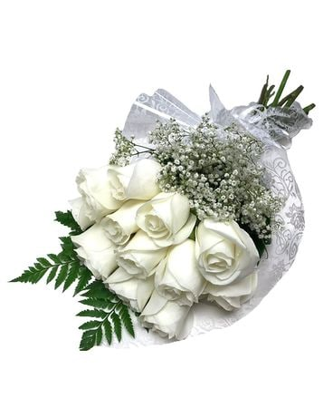 White Roses Wrapped Bouquet Flower Arrangement