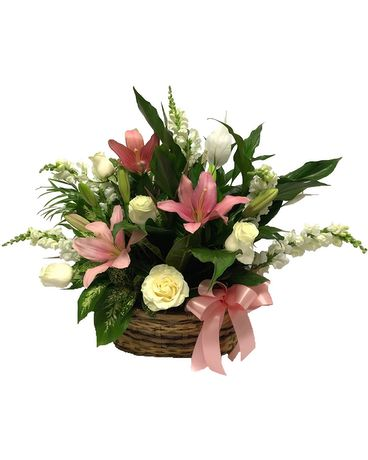 Lily and Rose Dish Garden Flower Arrangement