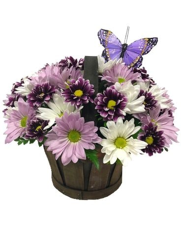 Purple Daisy Basket Flower Arrangement