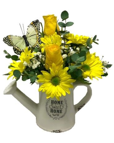 Home Sweet Home Watering Can Flower Arrangement