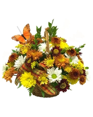 Colors of Autumn Basket Flower Arrangement