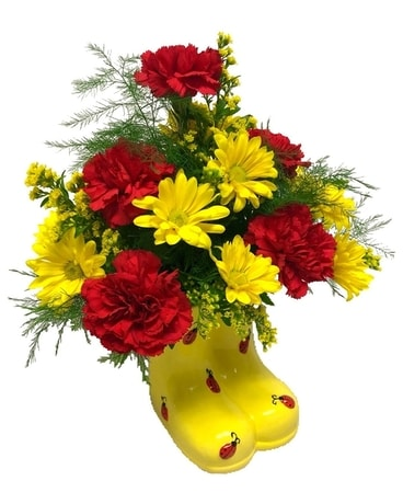 Ladybug Boots Bouquet Flower Arrangement