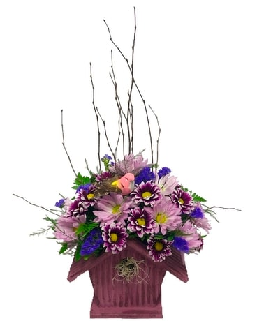 Pretty Purple Bird House Flower Arrangement