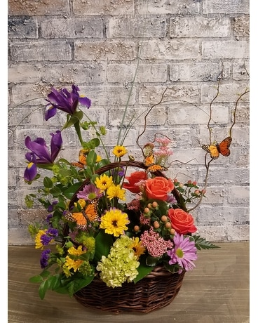 Mixed Spring Basket Flower Arrangement