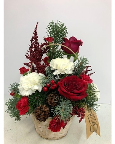 Christmas Melody Basket Bouquet Flower Arrangement