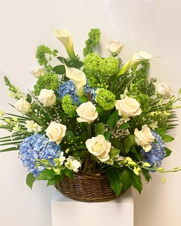 Serenity Blue Basket Flower Arrangement