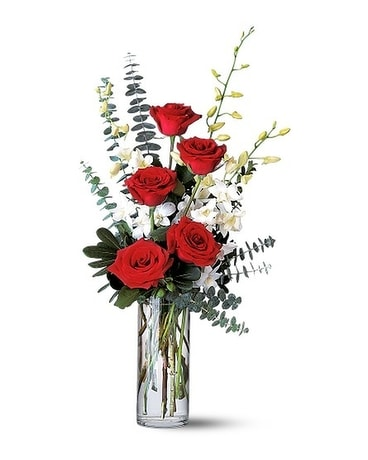 Red Roses and Dendrobiums Flower Arrangement