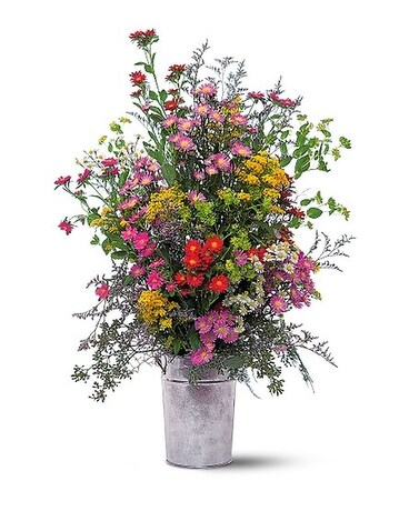 French Country Pail Flower Arrangement