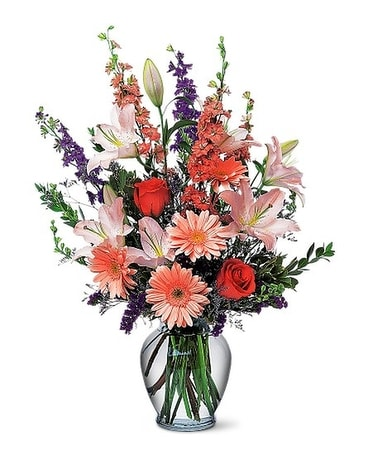 Peach and Purple Vase Flower Arrangement