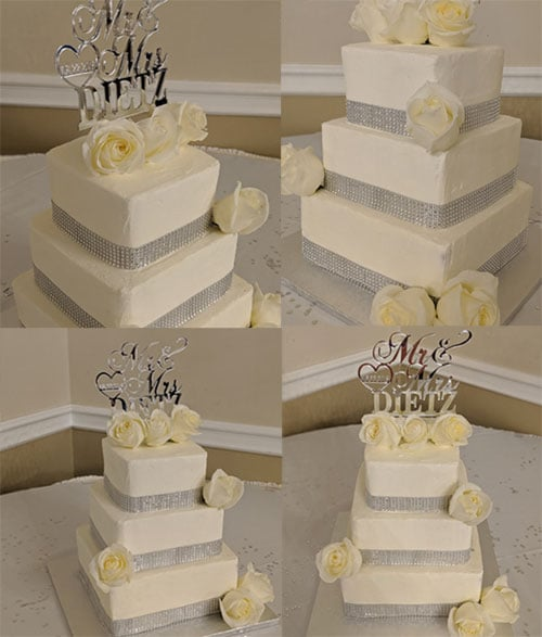 Wedding photo collage - flowers for wedding cake