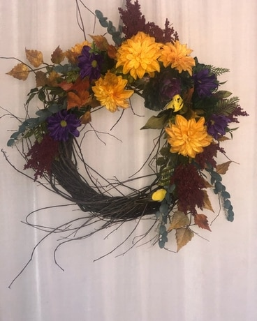 Fall Wreath 5 Flower Arrangement