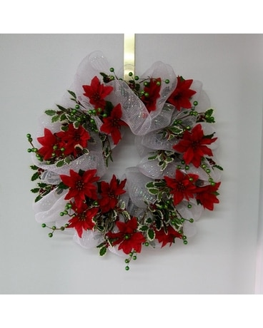 Red Poinsettia Wreath Flower Arrangement
