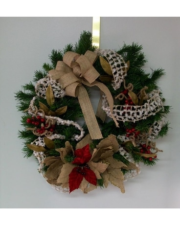 Burlap Winter Wreath Flower Arrangement